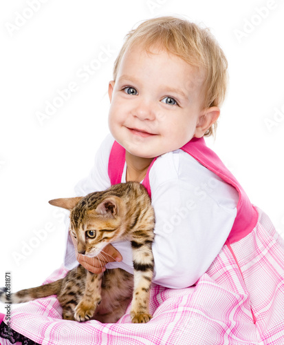 happy ittle girl hugging kitten. isolated on white background