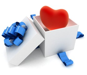 Heart in box. 3d render illustration on white background