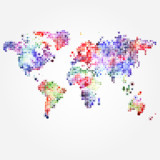 World Map with colored dots of different sizes