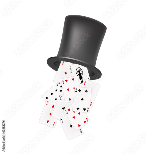 Playing cards falling out of a hat