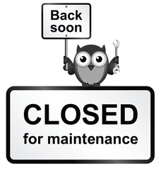 Internet site closed for maintenance sign