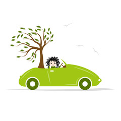 Woman carry tree by green car for your design