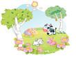 farm animals cartoon at the flower garden