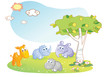 young animals cartoon with garden background