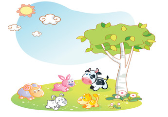farm animals cartoon with garden background