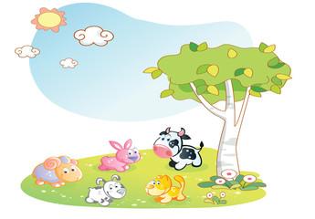 farm animals cartoon with garden background