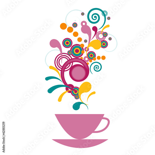 Bright cup with fragrant drink