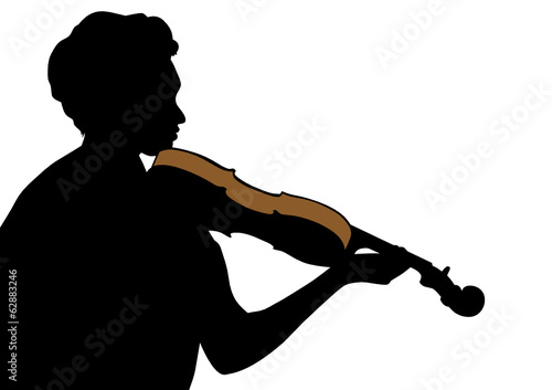 Violin in his hand