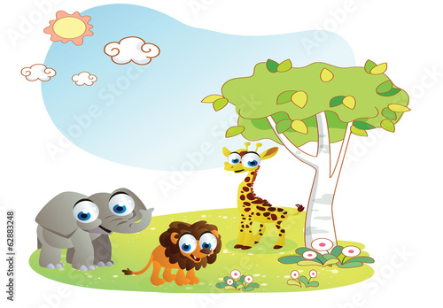 animals cartoon with garden background