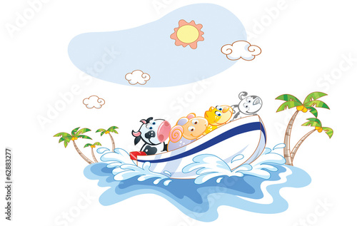 funny animal cartoon was a boat ride on the beach