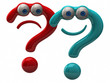 Illustration of blue happy andred sad question mark