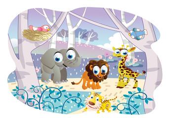 cartoon animals playing in a beautiful garden