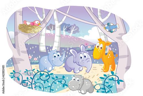 cartoon young animals playing in a beautiful garden
