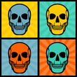 Four illustrations with skulls on pop art background.