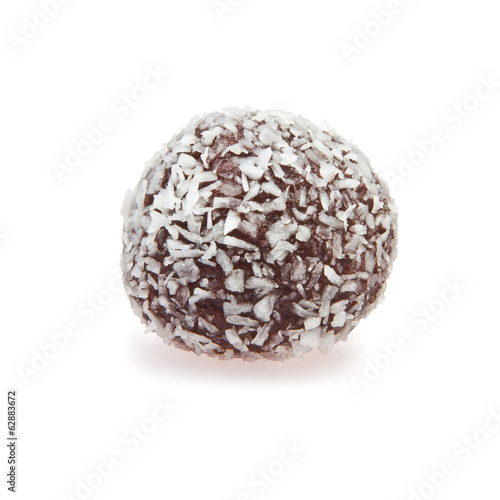 Chocolate ball with coconut flakes