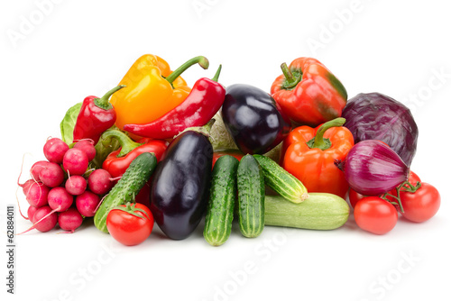 collection vegetables isolated on white