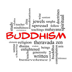 Buddhism Word Cloud Concept in red caps
