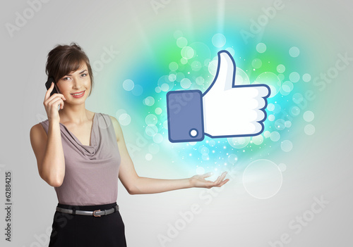 Young girl with like social media illustration