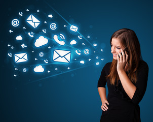 Young lady making phone call with message icons