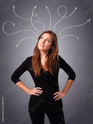Young girl thinking with arrows overhead