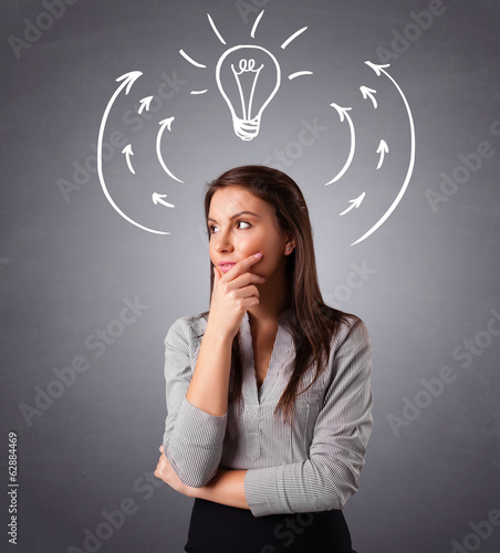 Pretty lady thinking with arrows and light bulb overhead