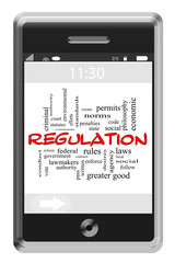 Regulation Word Cloud Concept on Touchscreen Phone