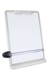 Isolated copy holder with empty white paper for copy space