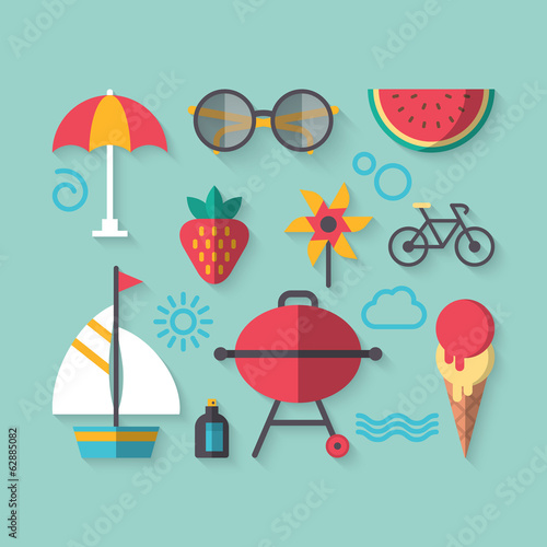 Flat modern design of icons for summer holiday