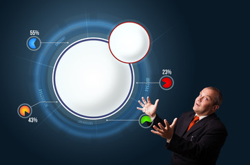 funny businessman presenting abstract modern pie chart with copy
