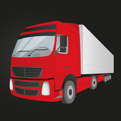 Red delivery truck - isolated