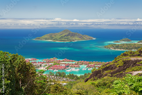 Aerial view of Eden island, Mahe, Seychelles