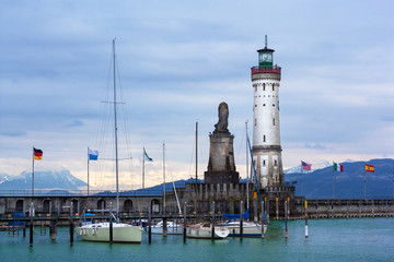 Lighthouse of Lindau at Lake Constance (Bodensee), Germany