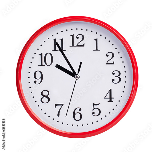 Five to ten on a round clock face
