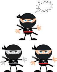 Angry Ninja Warrior Characters 2.Flat Design. Collection Set