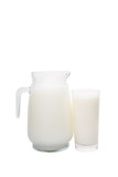 A jug and a glass of fresh daily milk