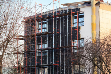 exterior insulation of administrative building facade