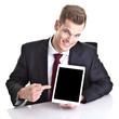 Moderner Geschäftsmann zeigt auf Touchpad
