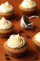 Tiramisu Cupcakes on a wooden background