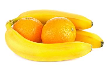 fresh ripe bananas and orange fruit isolated on white background