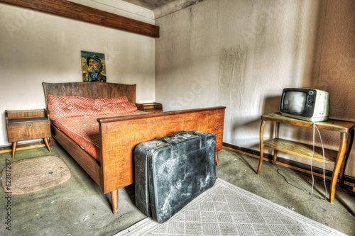 Abandoned hotel bedroom