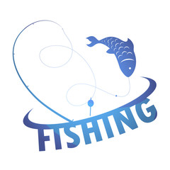 Fishing for design vector silhouette of fish