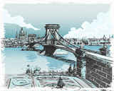 Vintage Hand Drawn View of Lions Bridge in Budapest - 62887876