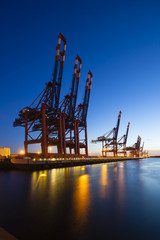 Container Terminals at Night