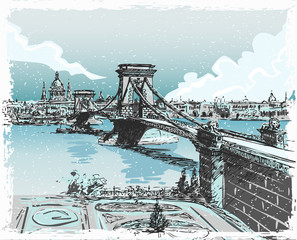Vintage Hand Drawn View of Lions Bridge in Budapest