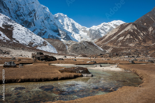 Mountain river and snowy mountain in Everest region, Nepal