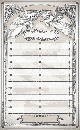 Vintage Page Menu with Angels