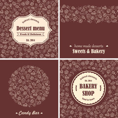Sweets and bakery backgrounds in set