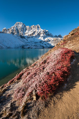 Pharilapche peak and Gokyo lake in autumn, Nepal