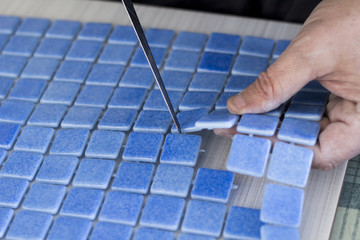 Manufacturing blue tile mosaic