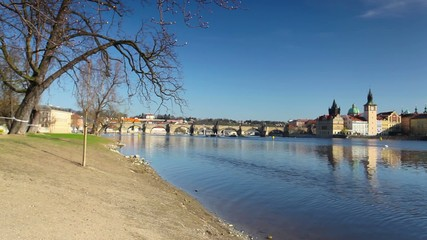View from Strelecky island on Charles bridge in Prague